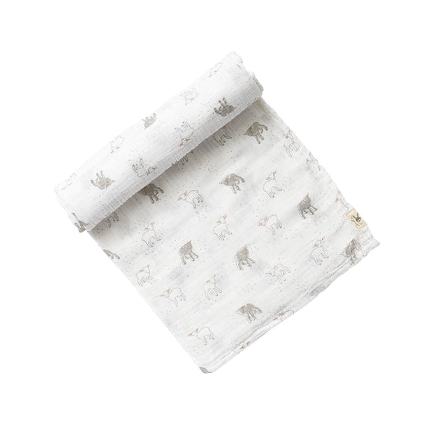 Crib Infant - Swaddle - Lamb - White Gray