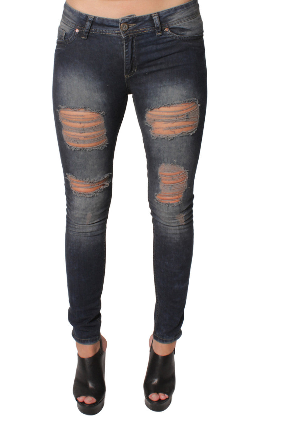 Dark Blue 5 Pocket Ripped Jeans