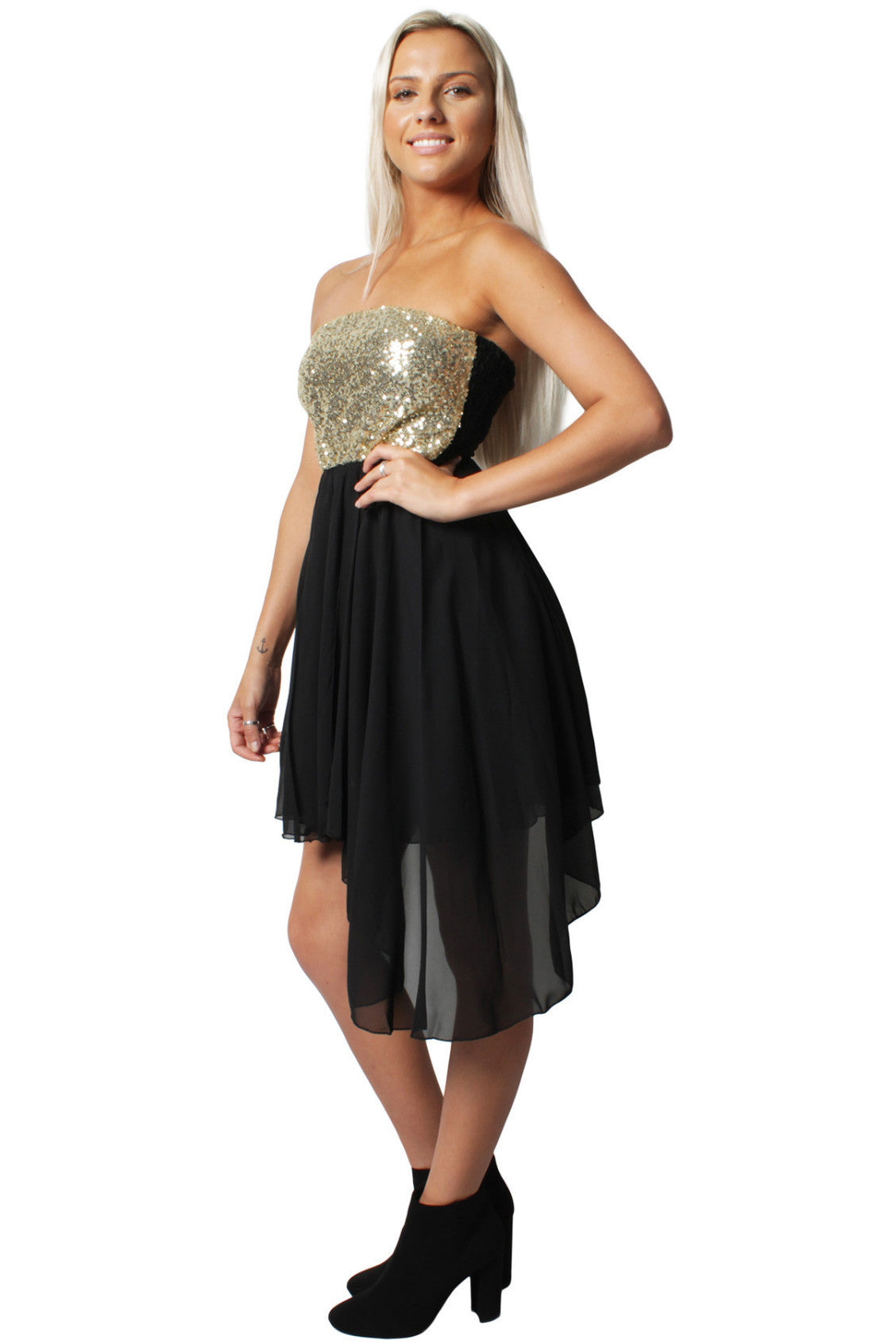 Black Asymmetrical Bandeau Party Dress