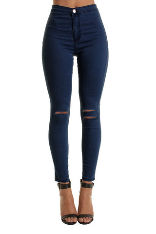Dark Blue High Waisted Double Rip Skinny Jeans