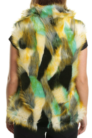 Green Monica Multi-Colour Faux Fur Gilet