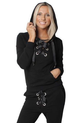 Black Loungewear Tracksuit Hooded Jogger Lace Up