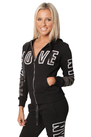 Black Love Embellishment Design Tracksuit Set