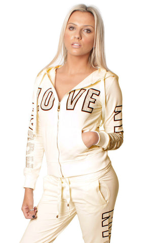 Cream Love Embellishment Design Tracksuit Set
