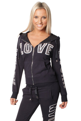 Navy Love Embellishment Design Tracksuit Set