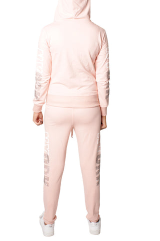 Pink Love Embellishment Design Tracksuit Set