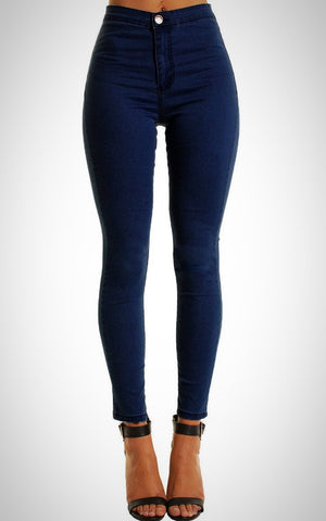 Dark Blue High Waisted Plain Skinny Jeans