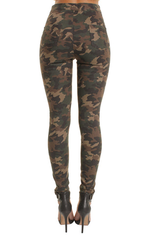 Military High Waisted Skinny Jeans