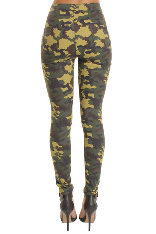 Light Military High Waisted Skinny Jeans