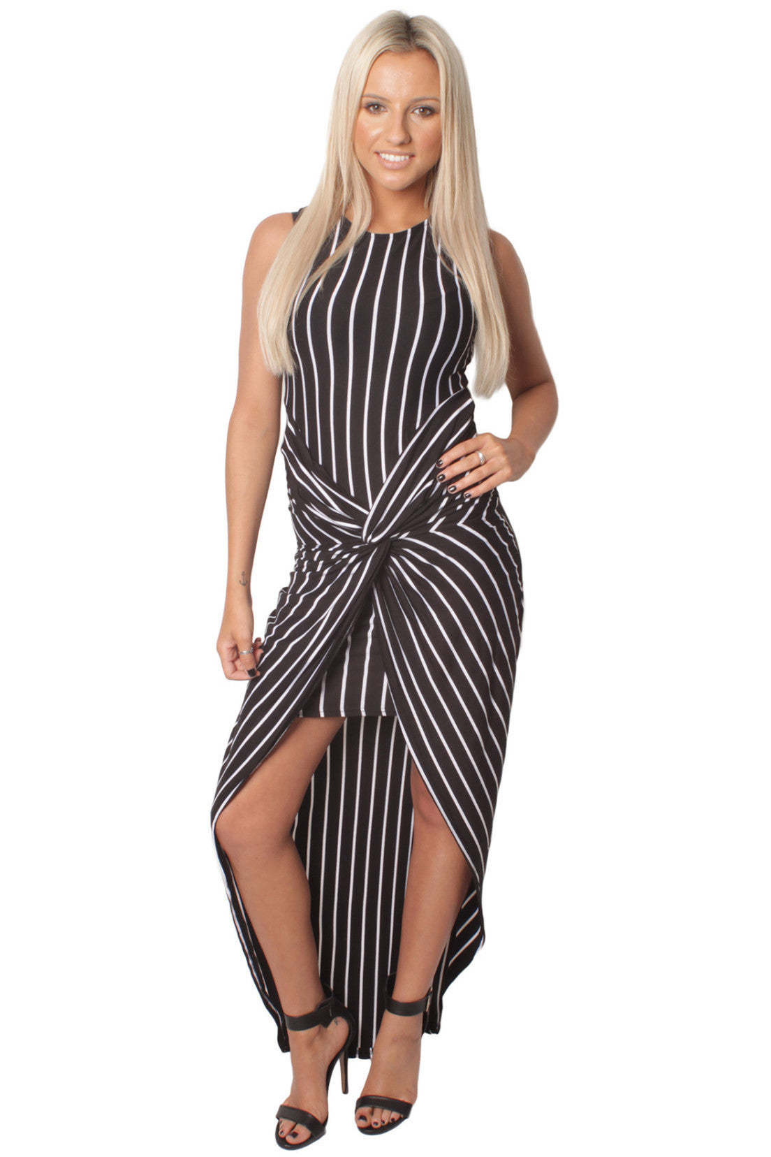 Black Twist Front Striped Maxi Dress