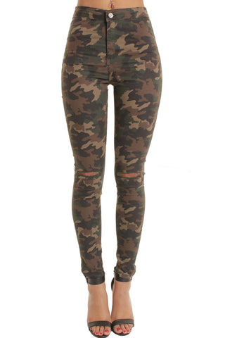 Military High Waisted Ripped Knee Skinny Jeans