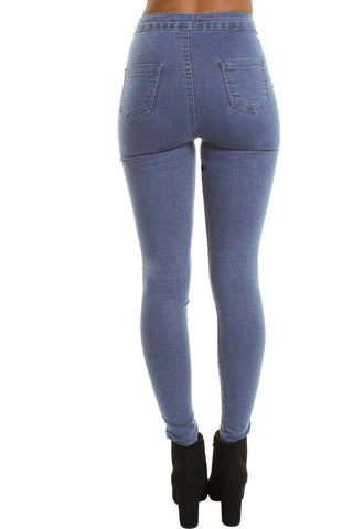 Mid Blue High Waisted Ripped Knee 5 Pockets Jeans