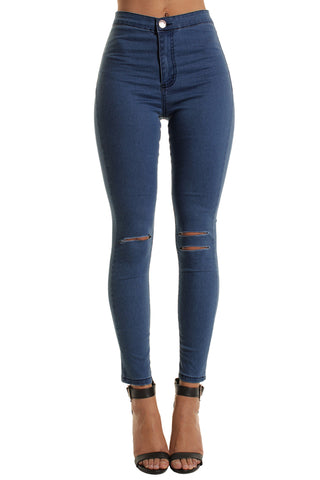 Mid Blue High Waisted Double Rip Skinny Jeans