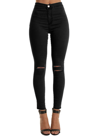 Black High Waisted Double Rip Skinny Jeans