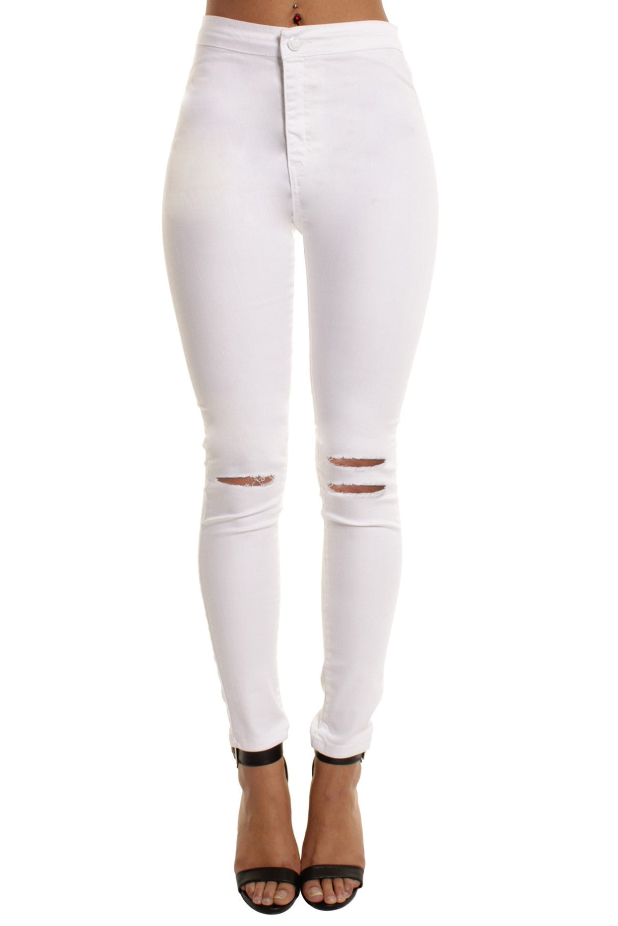 White High Waisted Double Rip Skinny Jeans