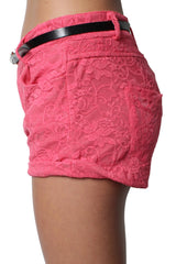 Pink Lace Low-waist 4 Pockets Shorts