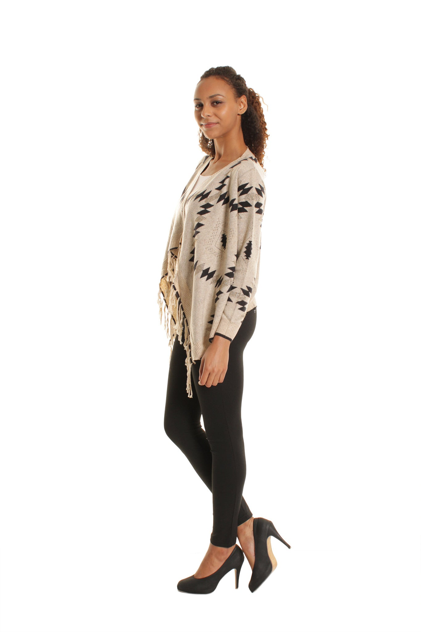 Cream Geometric Print Knitted Fringed Tassle Cardigan
