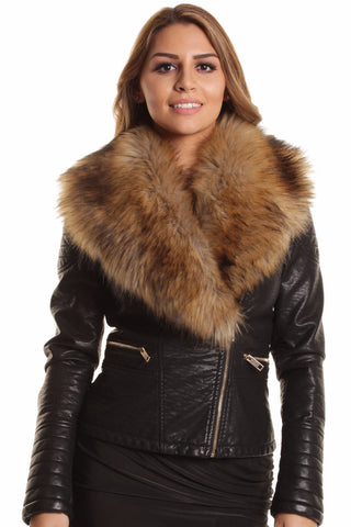 Penelope Faux Fur Short Biker Jacket