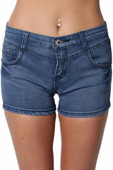 Dark Blue Denim Low Waisted Shorts