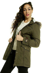 Military Fishtail Fur Hooded Parka with PU Detail