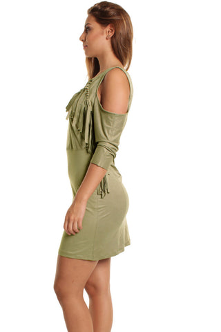Beige Maria Suedette Cold Shoulder Tassel Dress