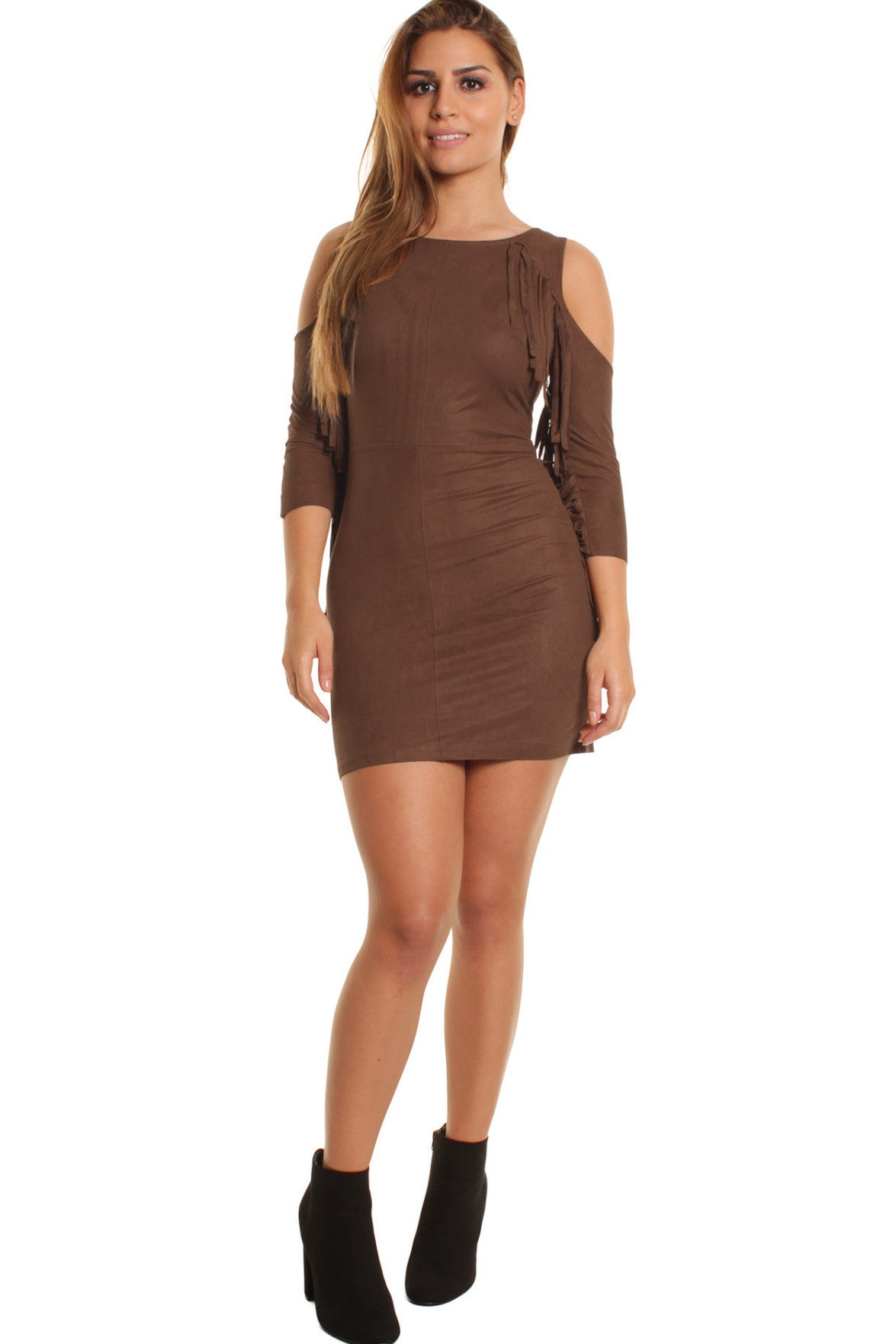 Chocolate Maria Suedette Cold Shoulder Tassel Dress