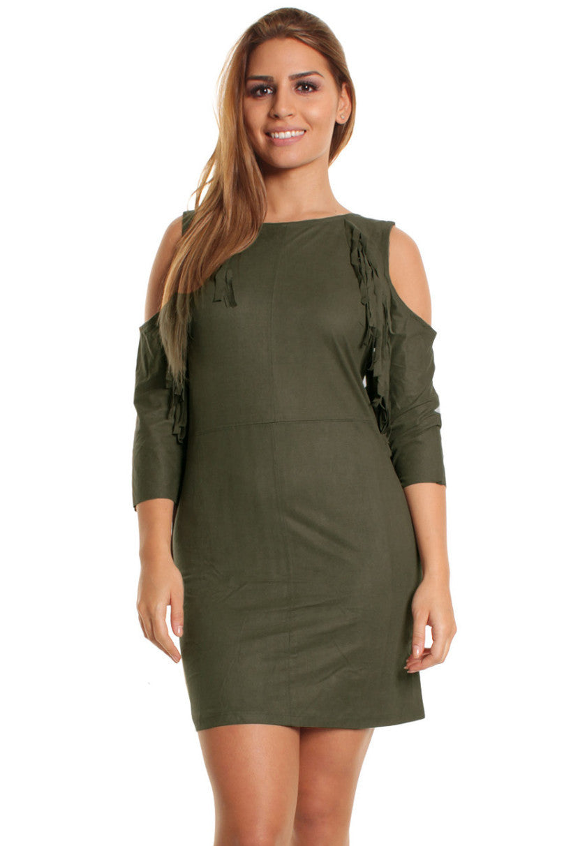 Maria Suedette Cold Shoulder Tassel Khaki Dress