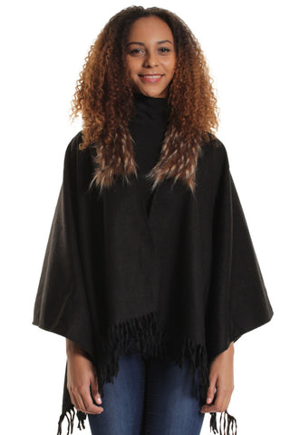 Hayley Black Faux Fur Collar Cape
