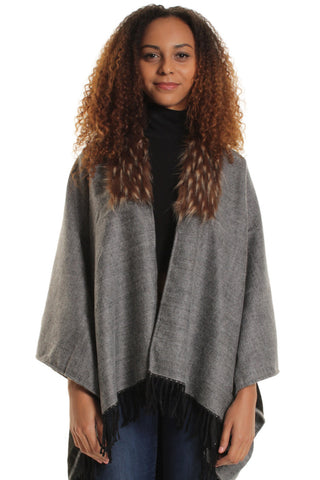 Hayley Grey Faux Fur Collar Cape