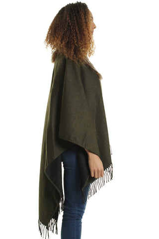 Hayley Khaki Faux Fur Collar Cape