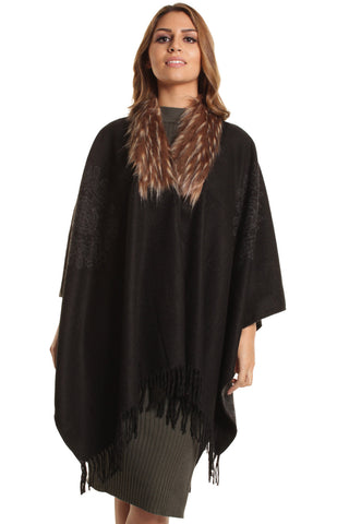 Black Mary Soft Knit Poncho