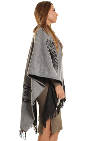 Grey Mary Soft Knit Poncho