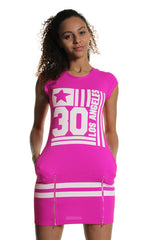 Pink Los Angeles Print Double Zip Front Detail Bodycon Dress