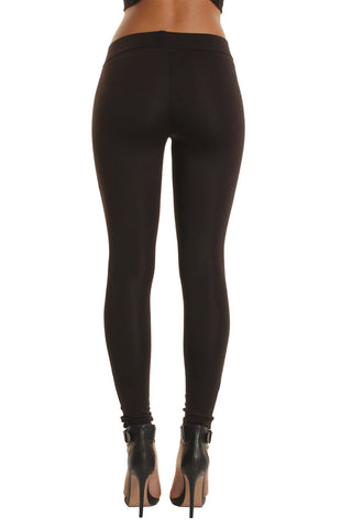 Ribbed Panel Faux Leather Leggings
