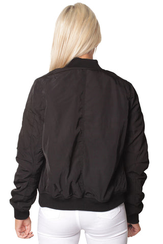 Black Classic Bomber Jacket with Zip Pockets