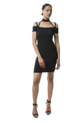 High Choker Neck Cold Shoulder Short Bodycon Dress