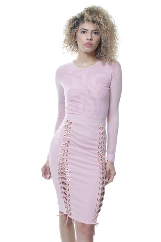 Sexy Laced Up See Thru Midi Split Party Evening Dress