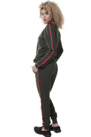Side Stripe Contrast Cotton Blend Tracksuit Set