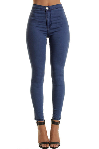 Blue High Waisted Plain Skinny Jeans
