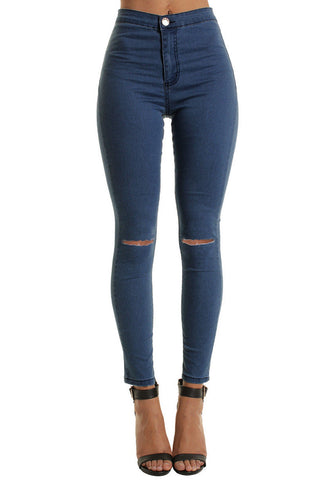 Blue High Waisted Ripped Knee Skinny Jeans