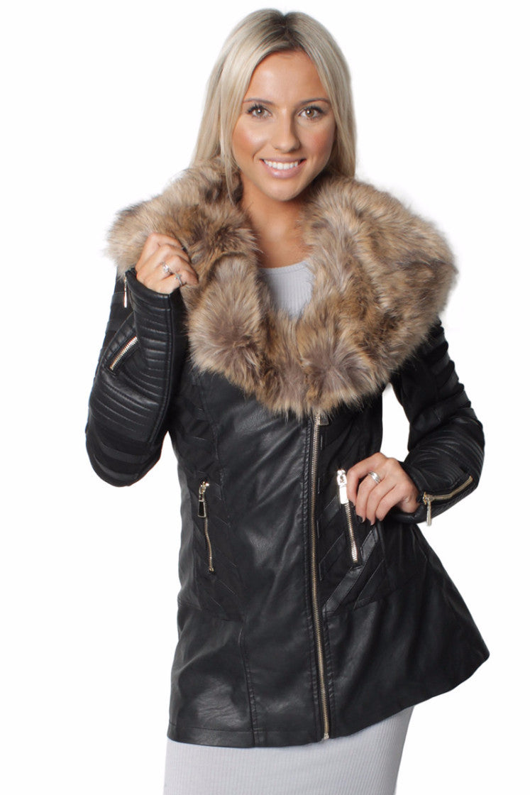 Rachel Faux Sand Fur Long Biker Coat