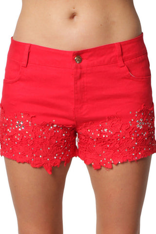 Red Diamond Studded Stretchy Lace Denim Shorts