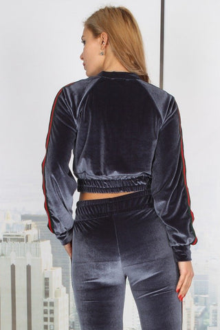 Velvet Side Stripe Contrast Cropped Leisure Suit