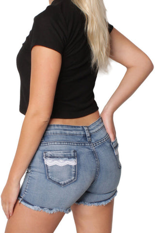 Mid Blue Destressed Denim Low Waisted Ripped Shorts