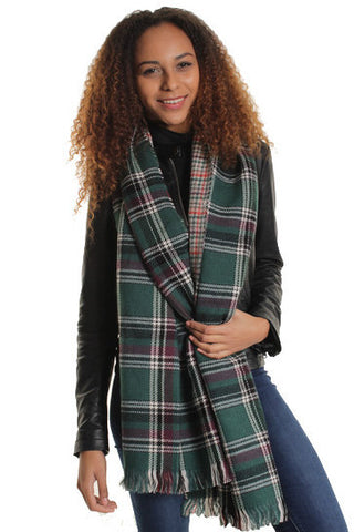 Green Oversized Reversible Tartan Scarf