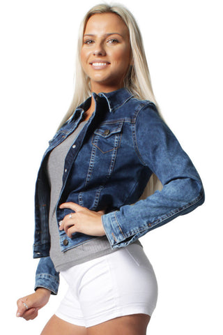 Mid Blue Long Sleeve Denim Jacket