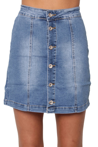 Mid Blue Button Down Denim Skirt