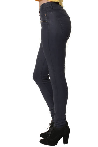 Navy Leather-Look Mid Waist Jeans