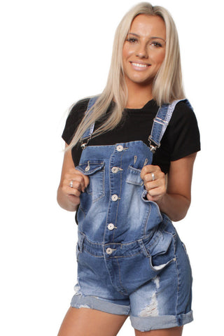 Stonewash Denim Ripped Short Dungaree