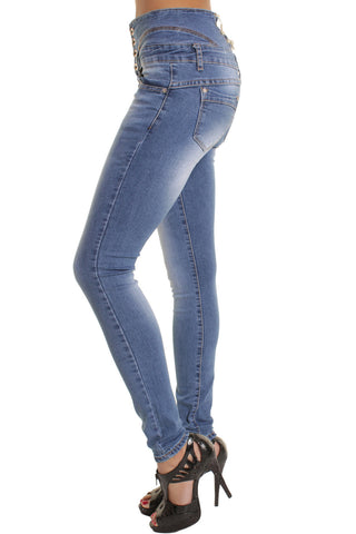 Blue String Embellishment High Waisted Skinny Jeans